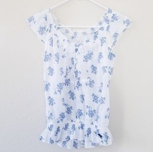 Abercrombie & Fitch Blue Flowers Printed Blouses